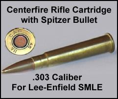 .303 caliber rifle round for Lee-Enfield SMLE